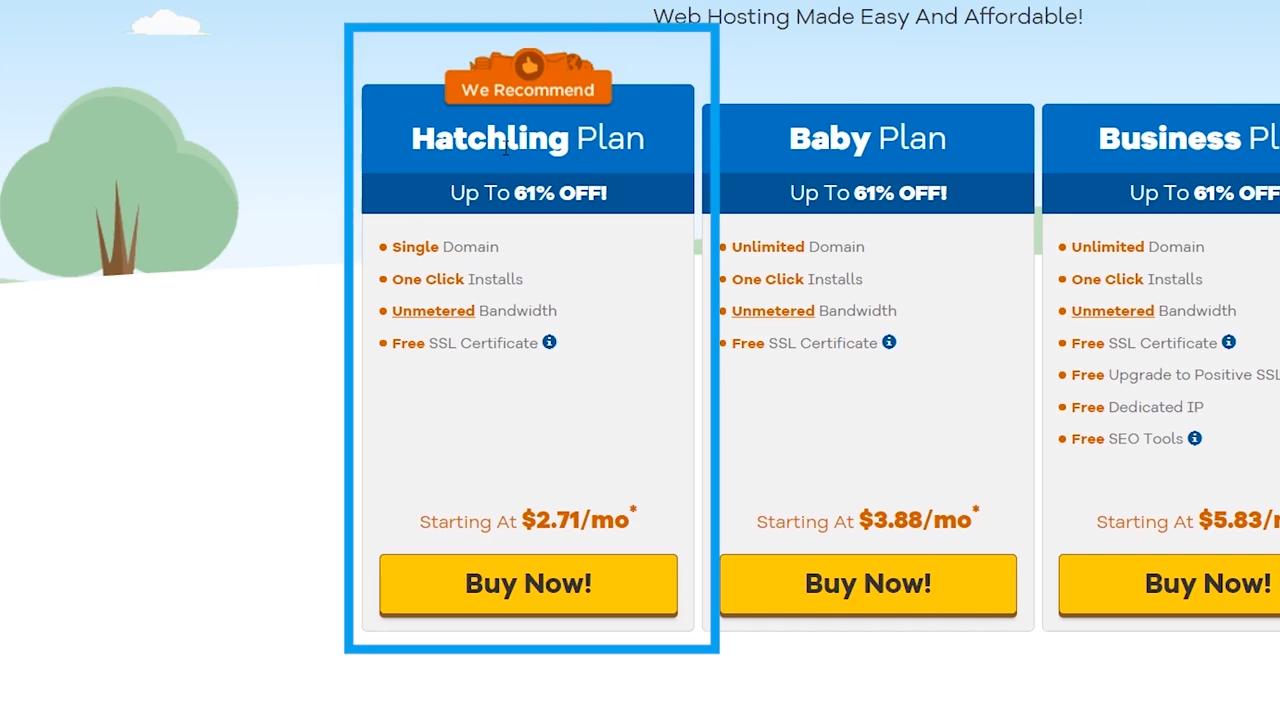 wordpress website hostgator hatchling plan