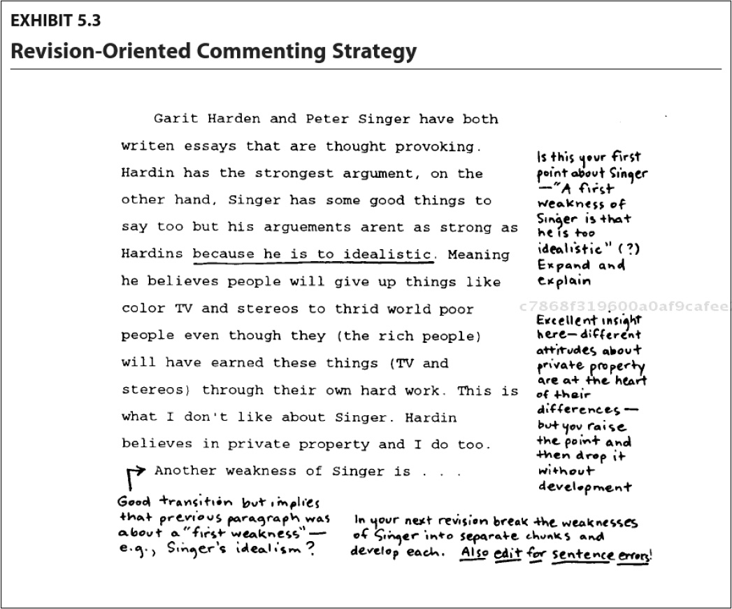 Example of successful feedback given Concentration on contentideas, and a combination of encouragement and suggestions for future revision (Bean, 2011)