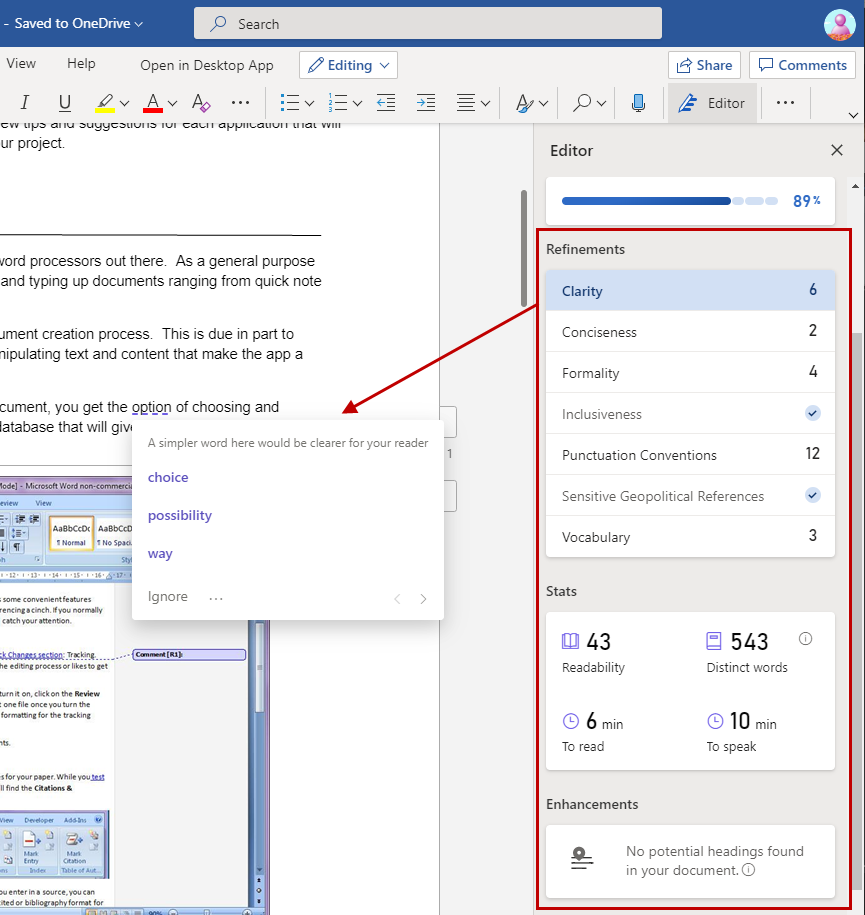 Microsoft Editor Spelling and Grammar feature