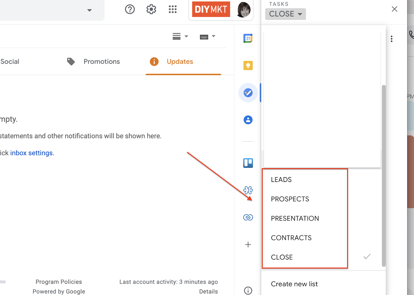 Use Task lists in Gmail as a de facto pipeline