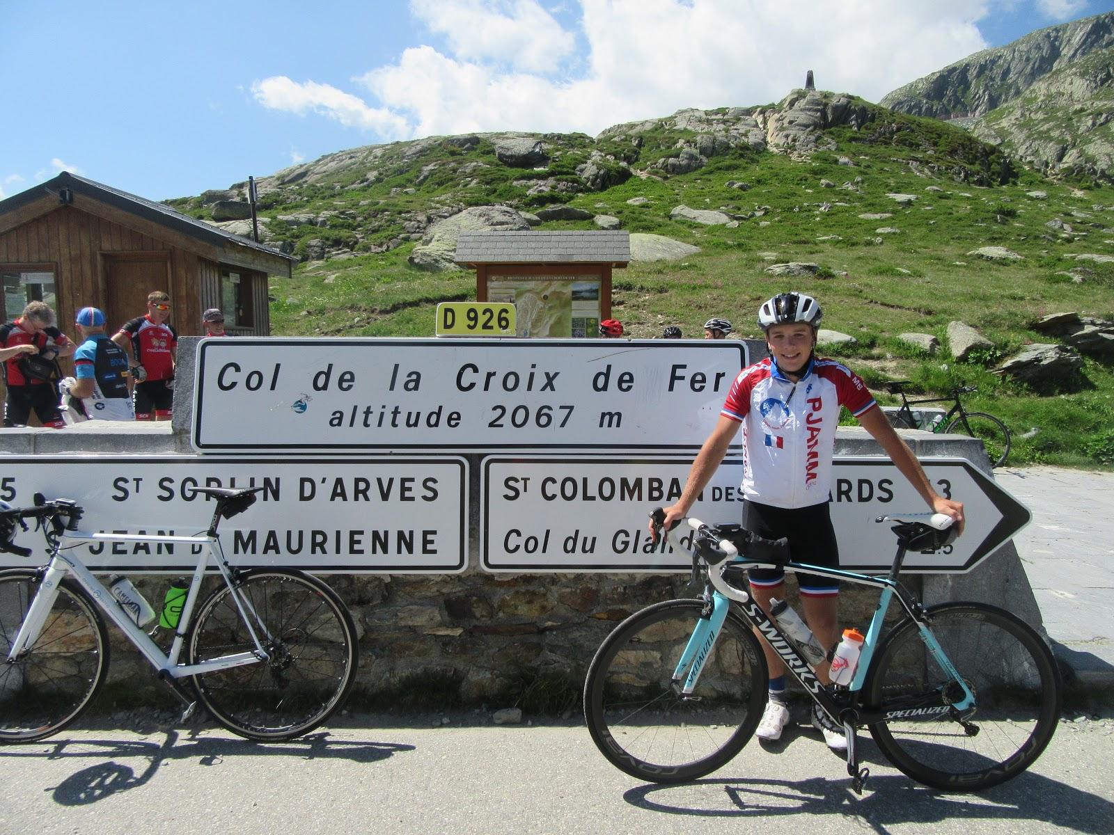 Cycling Col du Glandon, Col de la Croix de Fer sign, PJAMM cycling, bicycle