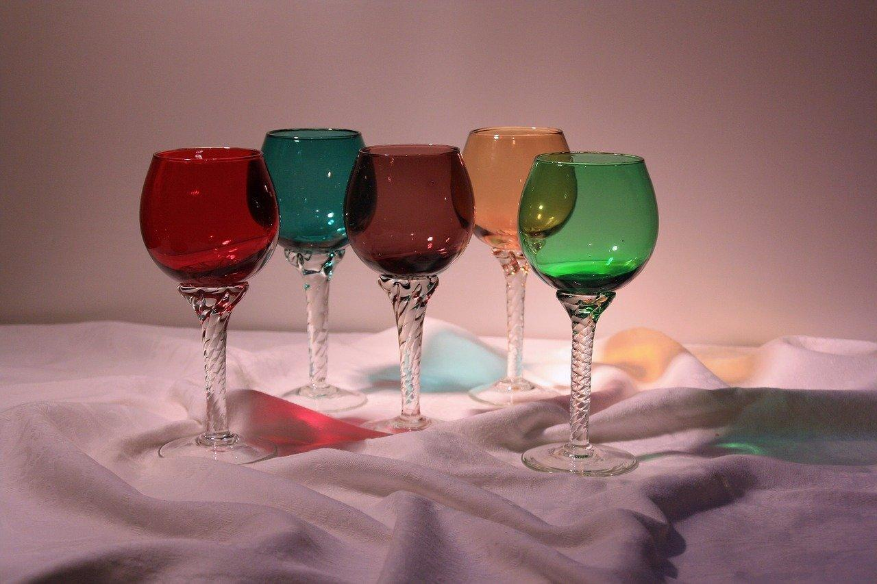 wine glass in different colors