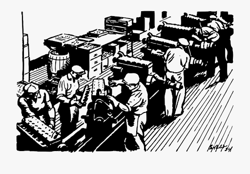 A group of workers assembling things in a factory.