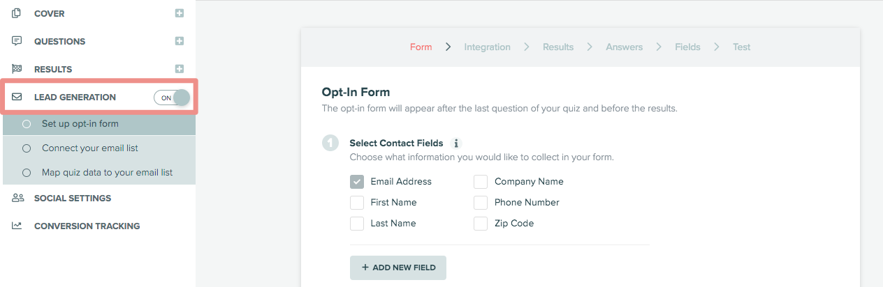 how to turn on lead generation in Interact