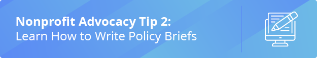 Learn the second nonprofit advocacy tip: how to write policy briefs.