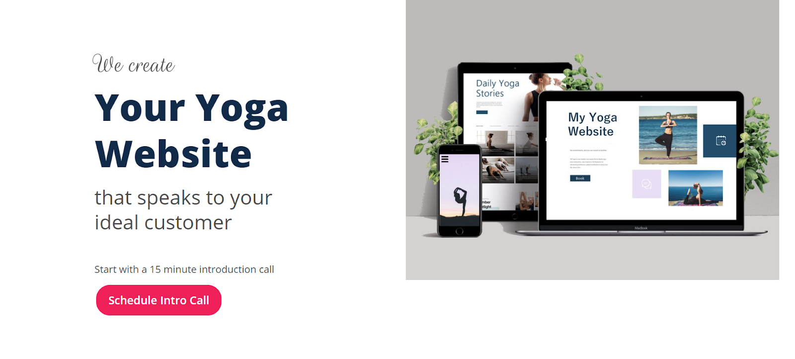 your yoga website landing page with no other links