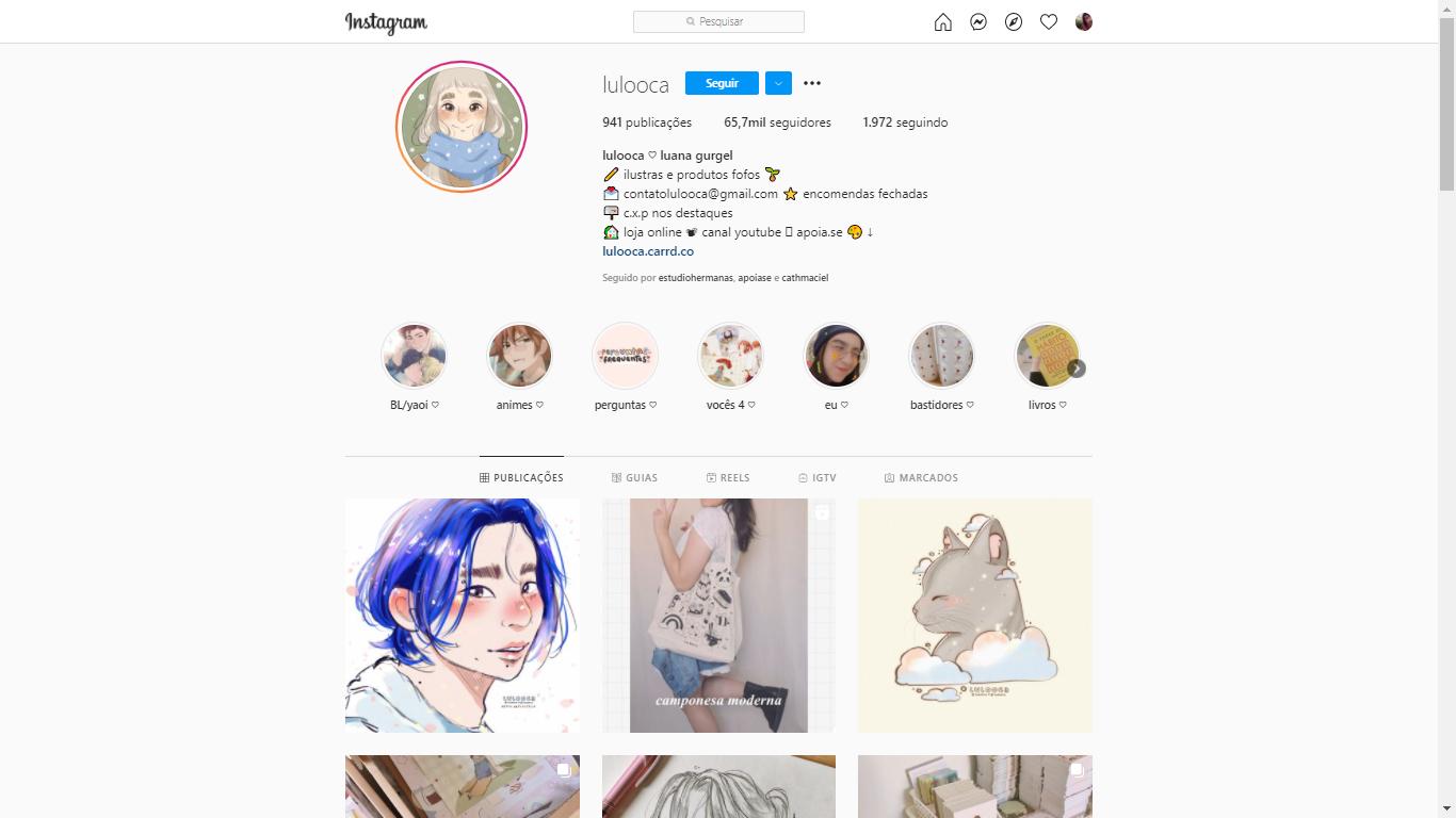 Captura de tela da página da ilustradora lulooca. No topo aparece um círculo com o desenho de uma garota, ao lado algumas informações de contato e abaixo alguns círculos e imagens com outras ilustrações da página da artista no instagram.