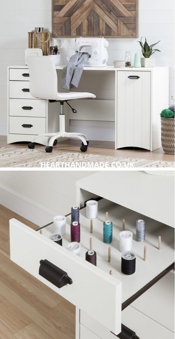 The SouthShore artwork sewing table + open drawers