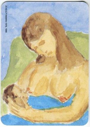 Карта из колоды метафорических карт Ох: мама кормит грудью малыша