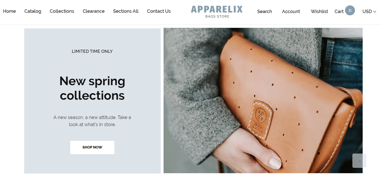 Apparelix - Handbags store shopify theme