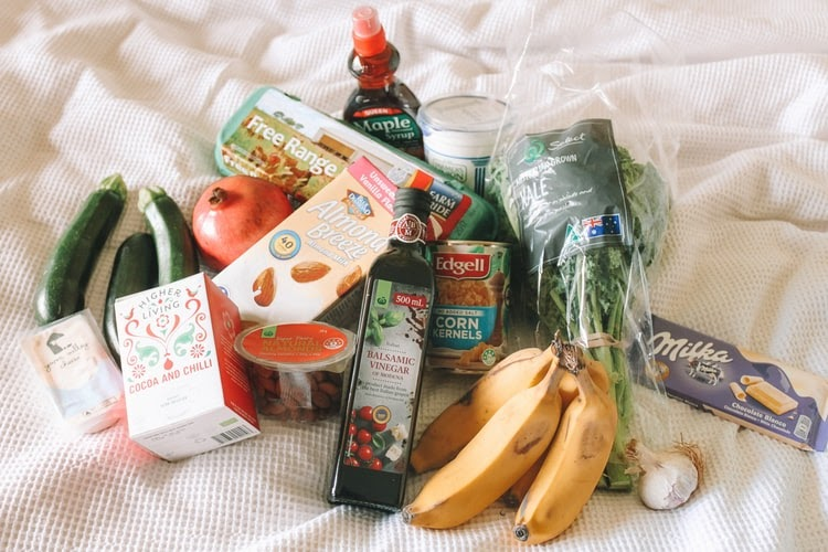 groceries on bed