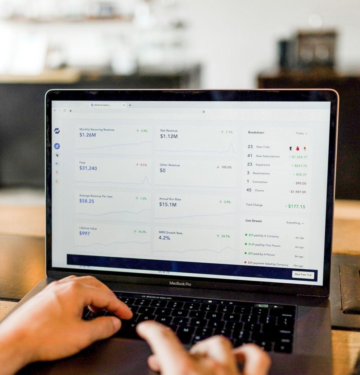 Employee app engagement metrics on a laptop