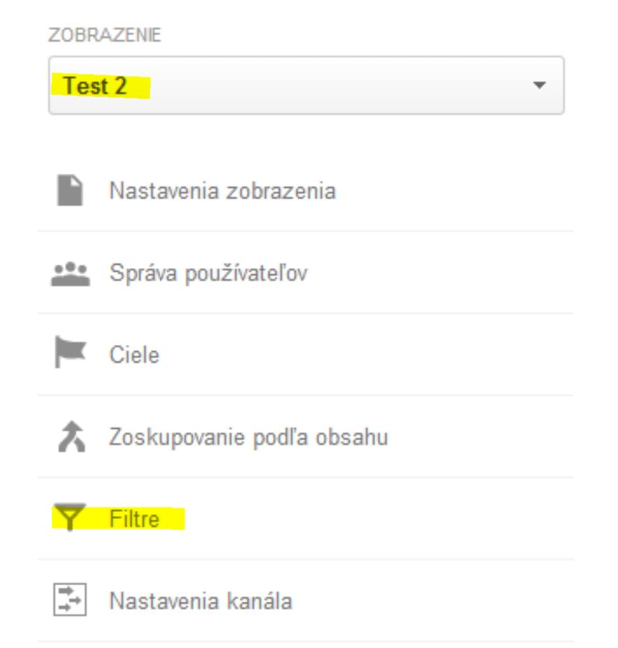 pridanie filtra do profilu v Google Analytics