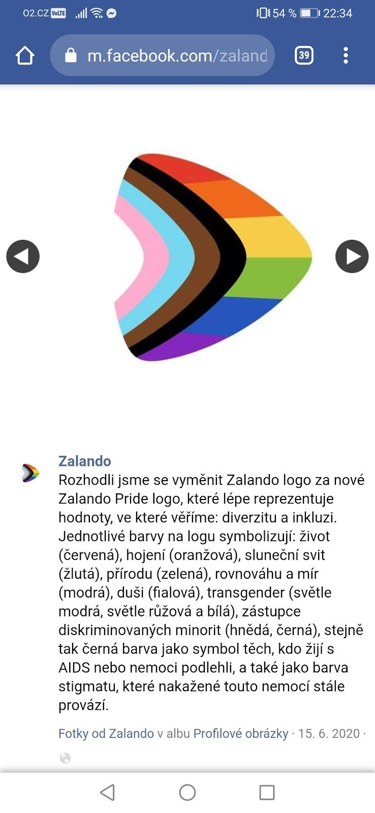 Screenshot příspěvku od Zalando s duhovým logem. Vysvětlena je základní rainbow barevnost i další barvy.