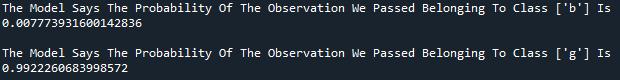 Logistic Regression model probability