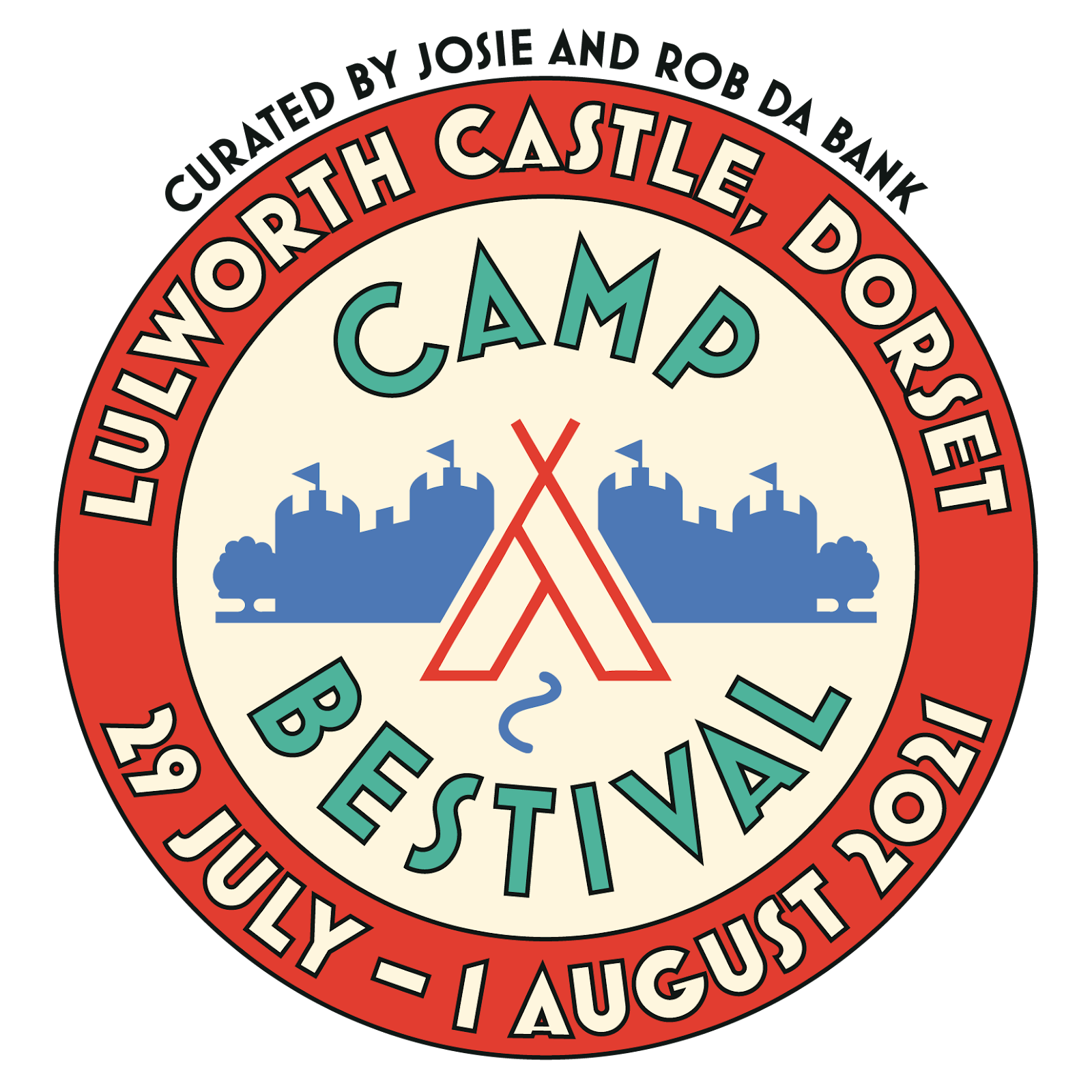 hollow red circle contains silhouette of tent and castle with camp bestival text in green