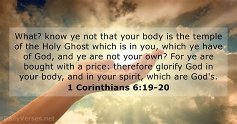1 Corinthians 6:19-20 - KJV - Bible verse of the day - DailyVerses.net