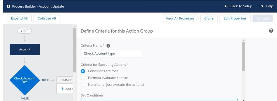 create criteria in Process Builder