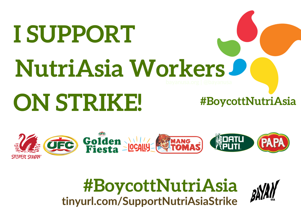Call to Action #BoycottNutriAsia Support Workers Strike