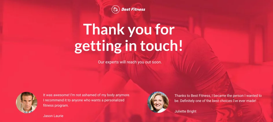 Best fitness thank you page