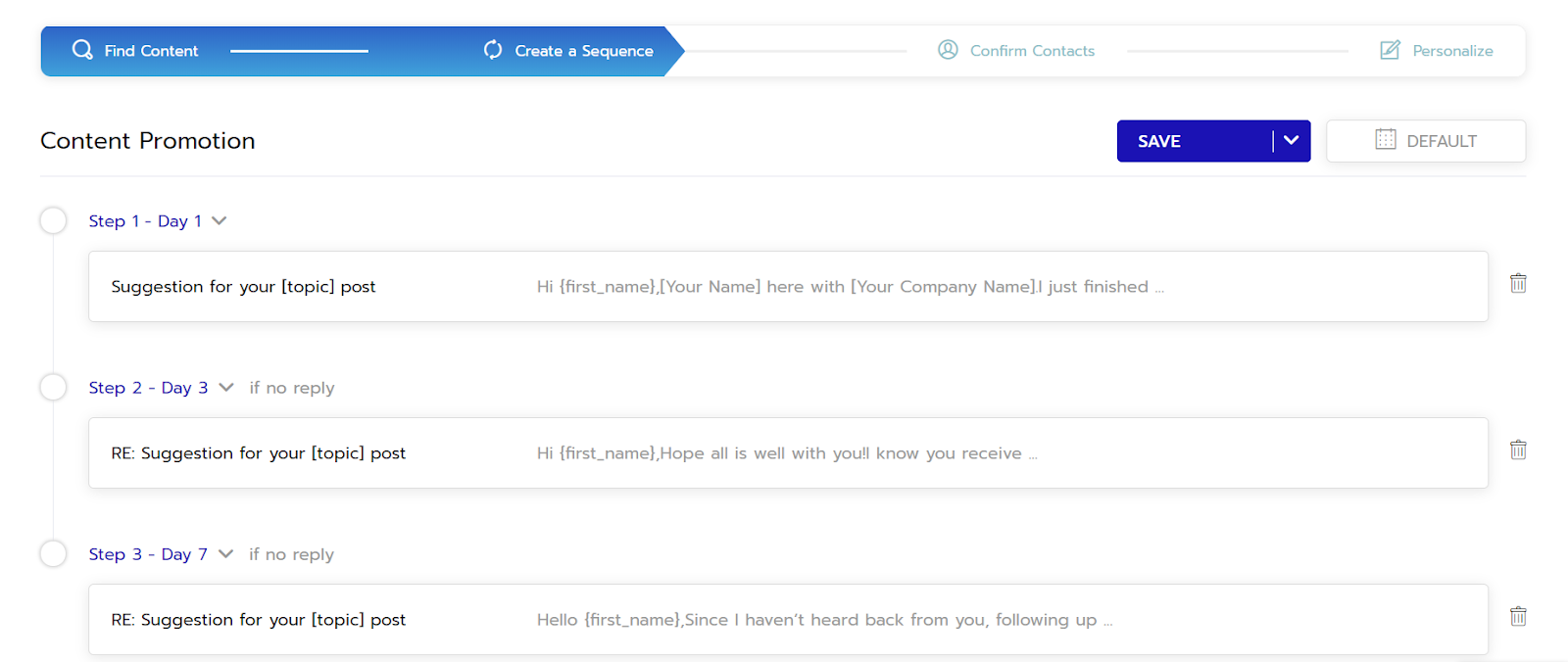 Setting up an automated PR campaign sequence in Respona.