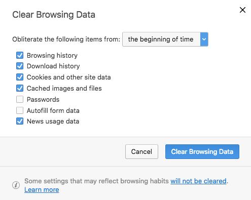 Clear browser cache in Opera