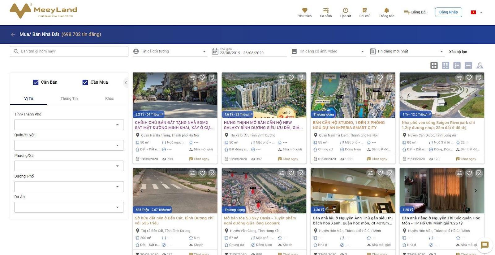 Trang website có lượng lớn tin đăng mua bán nhà đất