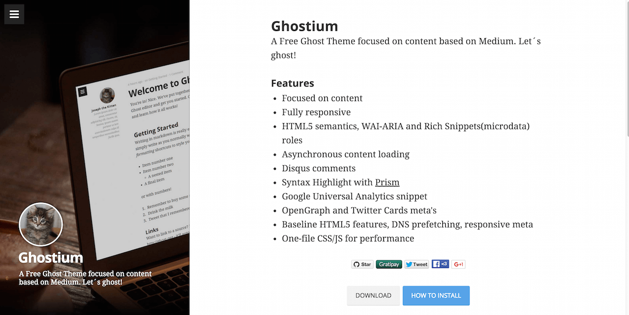 Screenshot of Ghost theme features