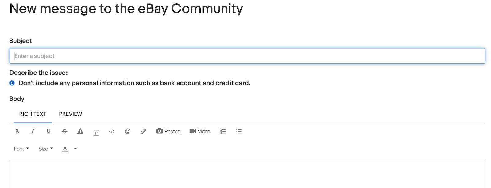 eBay community message page