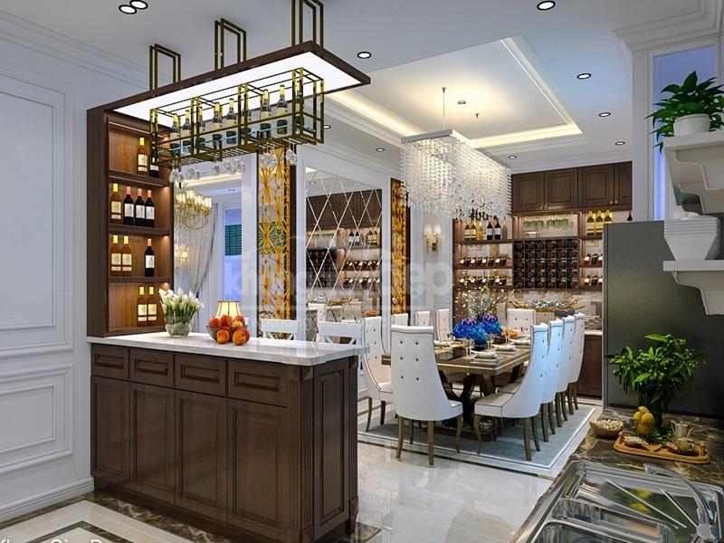 Quầy bar mini ngăn cách phòng khách và phòng ăn