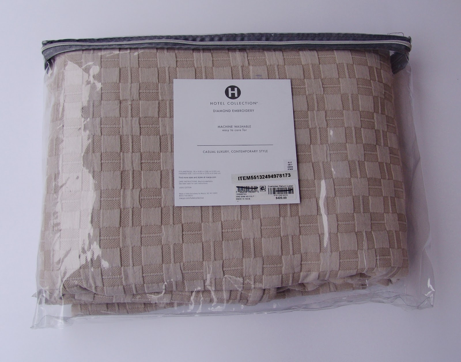 Hotel Collection Pebble Diamond Embroidery King Coverlet Beige Org