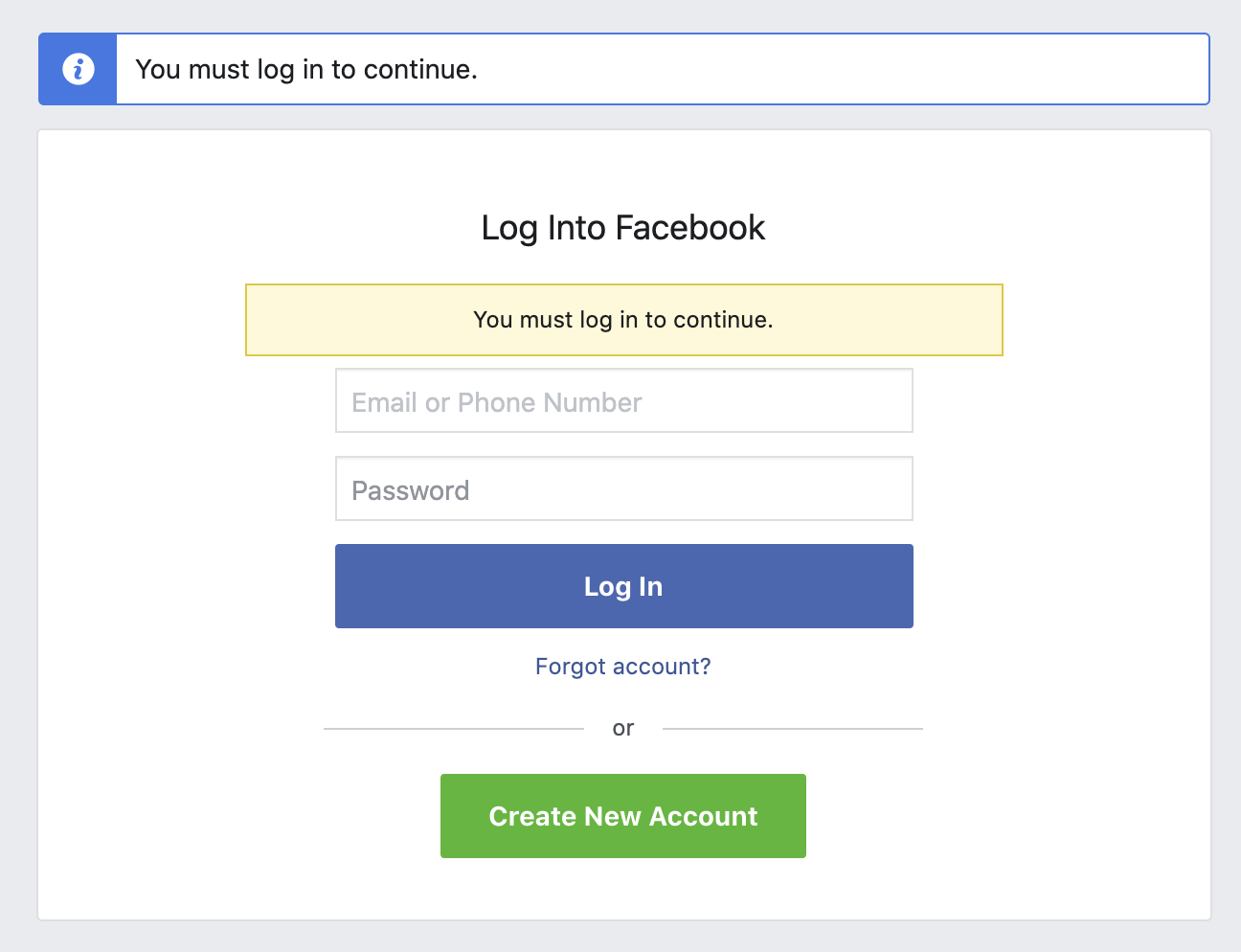 signing into Facebook