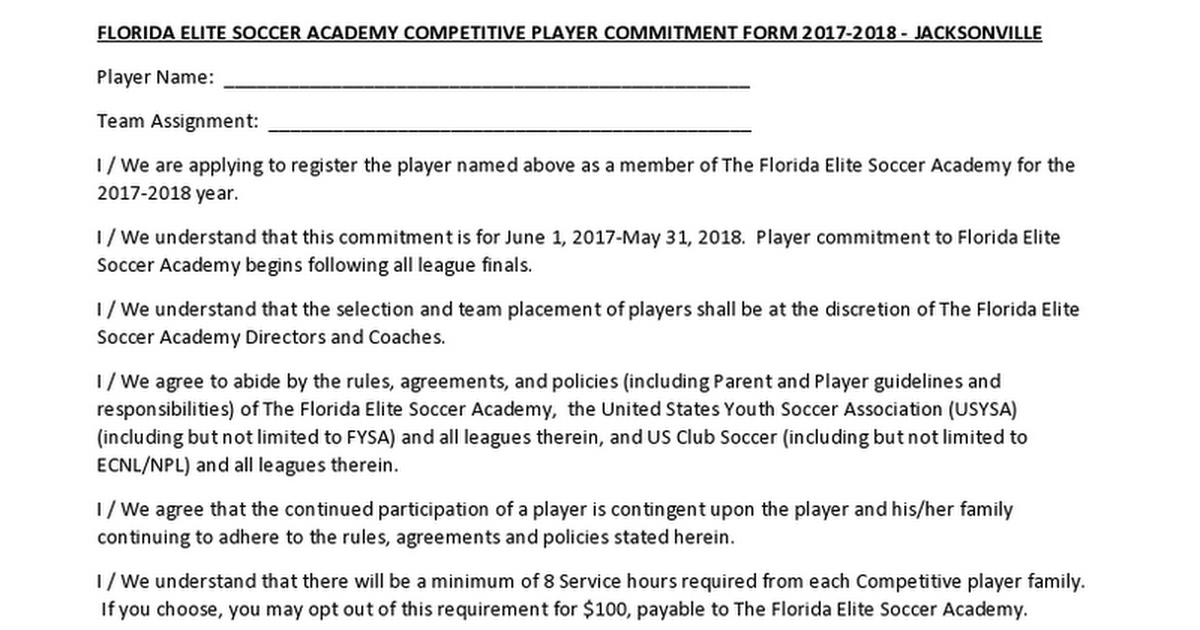 Player Commitment Form 20172018 Google Docs – Service Hour Form