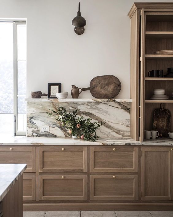 kitchen trend 2020 open shelving natural brown white stone warm woods buckhead tara fust