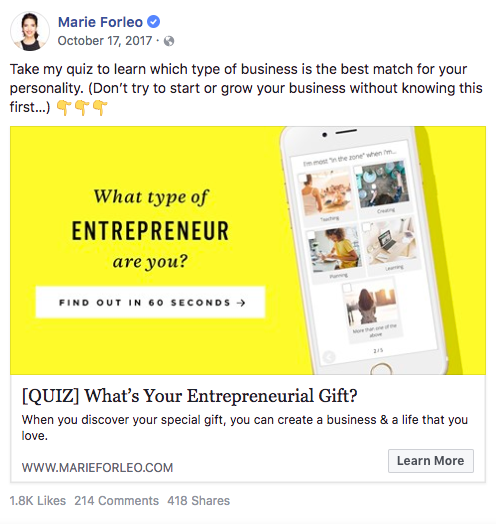 Marie Forleo Facebook post on What type of entrepreneur are you quiz