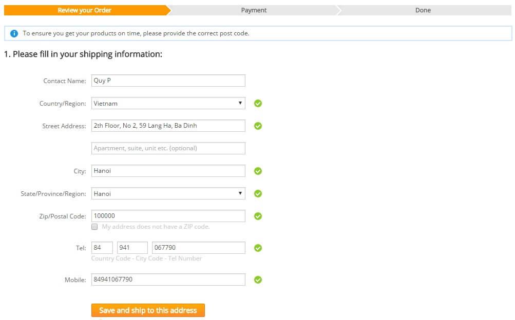 Điền địa chỉ nhận hàng tại Việt Nam