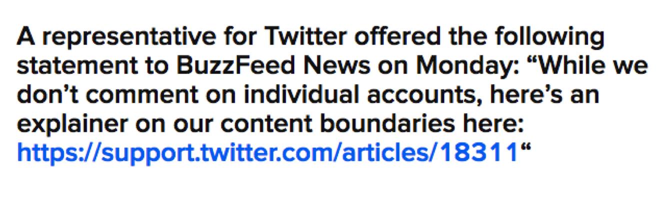 Screenshot about Twitter's content boundaries