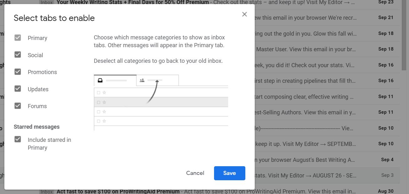 Gmail tabs setting