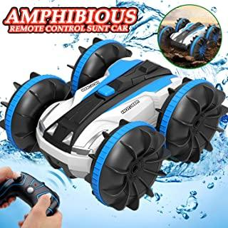 Toys for 6-10 Year Old Boys Amphibious Remote Control Car Boat for Kids 2.4 GHz RC Stunt Car 4WD Off Road Radio Controlled Monster Truck Land Water 2 in 1 Remote Control Vehicle for Boys Girls Birthday Gifts