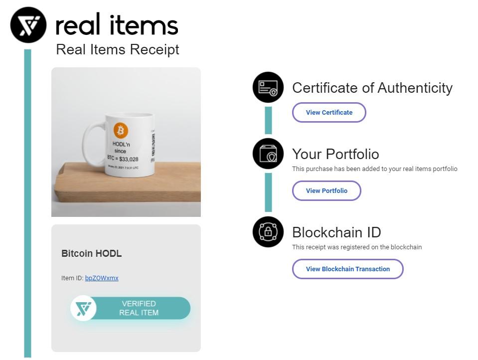 Screenshot of a Real Items Receipt for a coffee mug