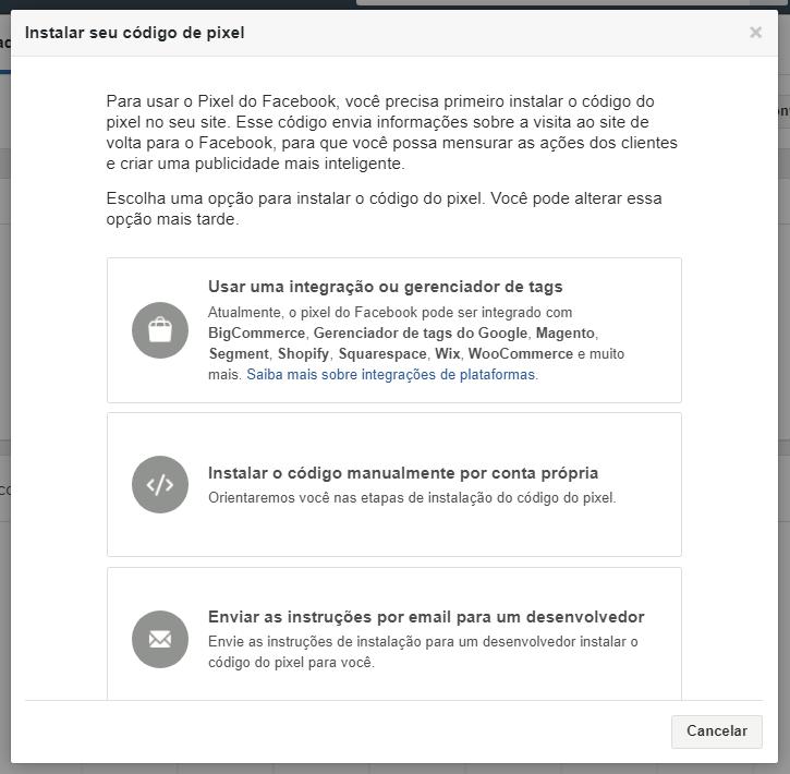 Instruções para pixel do facebook