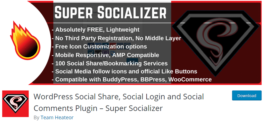 página de download do plugin super socializer