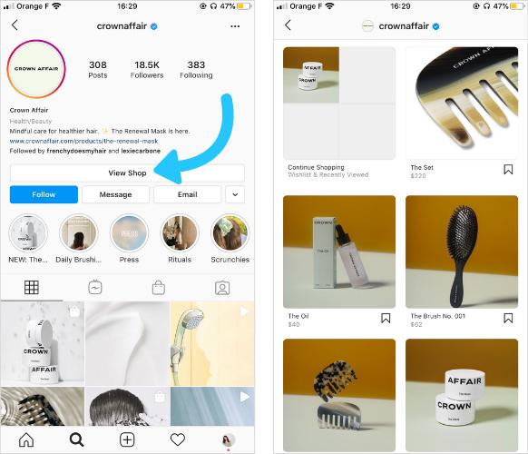 crownaffair Instagram shop social commerce
