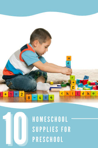 """child playing with blocks with the text overlay """"homeschool supplies for preschool"""""""