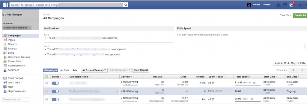 FB ads manager