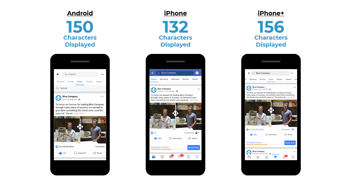 Examples of cutoff Facebook posts on mobile