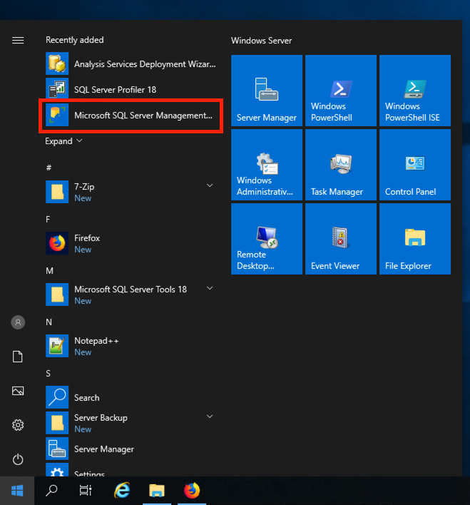 SQL Server Management Studio 2017 Start Menu Launch button on Windows 2019.