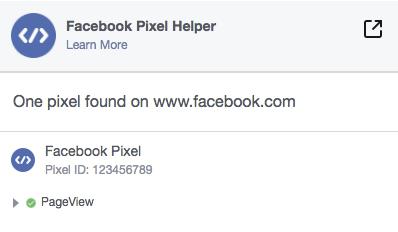 Facebook Pixel Helper screen