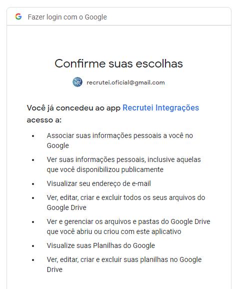 Sistema de Recrutamento e Seleção: integração com o google planilhas