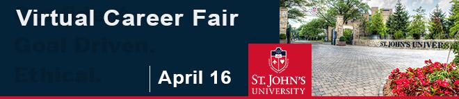 St. John's University Just In Time Virtual Career Fair Banner